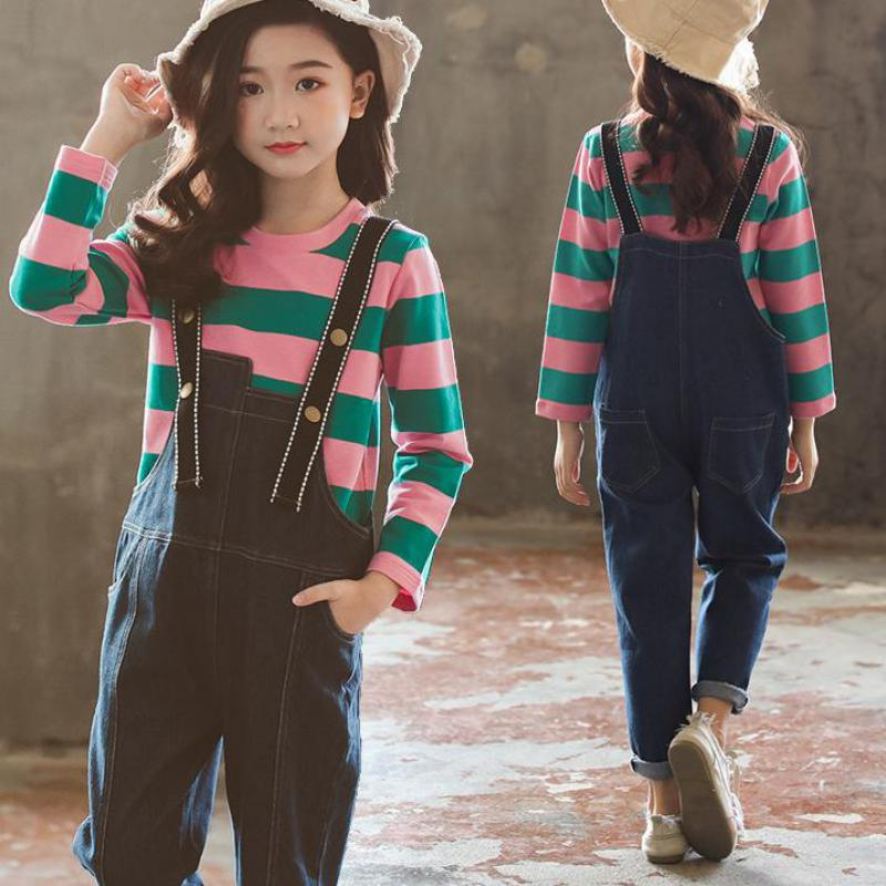 Sport Suit Teenage Autumn Girls Clothing Set Long Sleeve Tops Striped T-shirts + Jumpsuits Pants Casual Children Girl Clothes 12