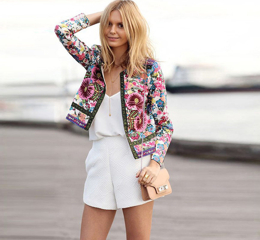 2019 Spring   Basic     Jacket   Ethnic Style Floral Printed Women Elegant Coat Slim Fit Tops Casual Ladies Cardigan Women   Jacket