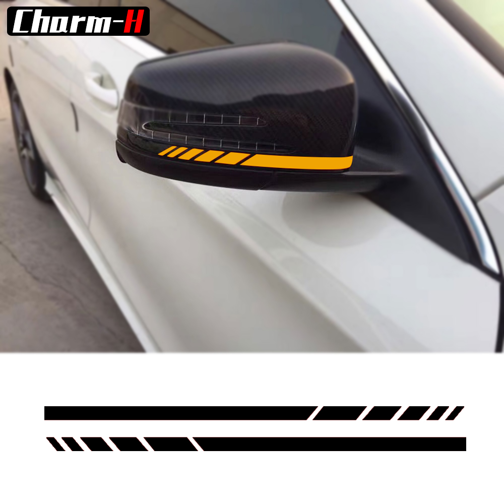 2 piezas espejo retrovisor lateral rayas vinilo reflectante pegatinas para Mercedes Benz W204 W212 W117 W176 Edición 1 AMG estilo