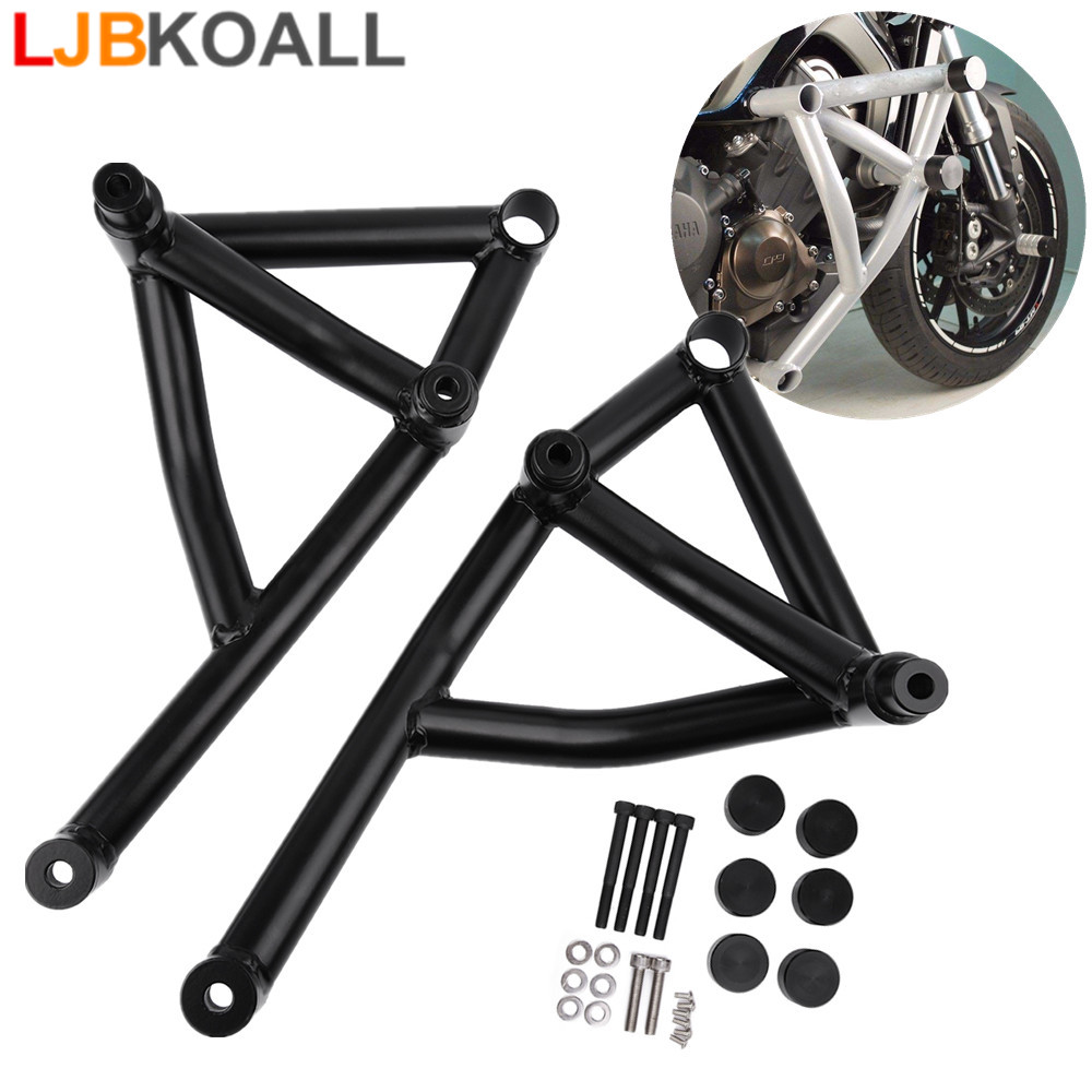 LJBKOALL MT09 FZ09 Motorcycle Black Stunt Cage Engine Guard Crash bar for Yamaha MT FZ 09 Tracer MT 09 FZ 09 2014 2015 2016 in Bumpers Chassis from Automobiles Motorcycles