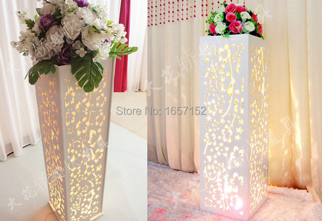 Wedding Carved Pillar Stand With LED Light Road Lead Hollow Flower Stage Decoration