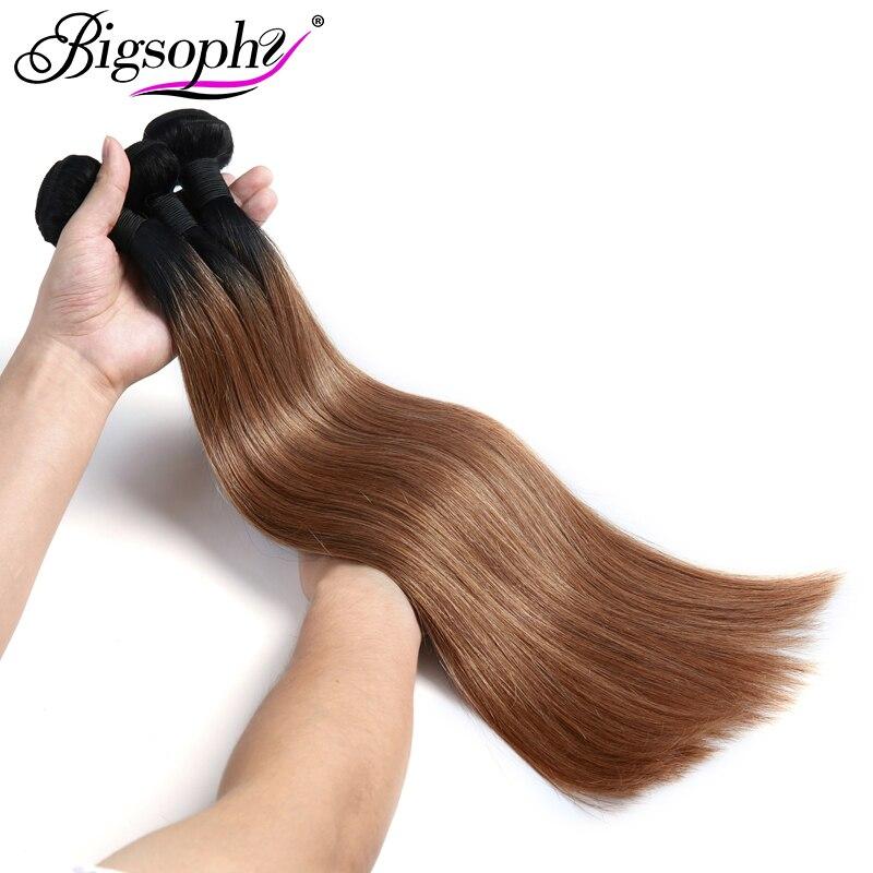 "Bigsophy Peruvian Hair Weave Bundles Human Hair Straight 1pc 10""-28"" 2 Tone 1B/30 Ombre Remy Hair Extension Can Buy 3/4 Bundles"