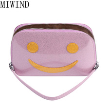MIWIND Smile Face Cosmetic Bag Pu Leather Makeup Make Up Bags Waterproof Small Travel Porable