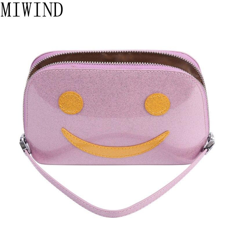 MIWIND Smile Face font b Cosmetic b font font b Bag b font Pu Leather Makeup