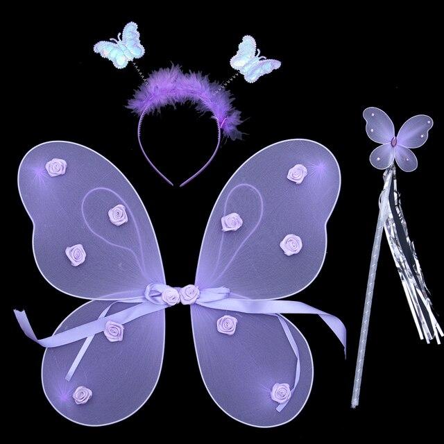 Rose single tier butterfly wings set piece toy performance wear props powder glitter  6pcs/set