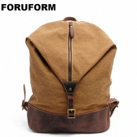 2016 New Crazy Horse Genuine Leather Canvas Women Men Casual Retro Backpack Day Pack Travel Hiking
