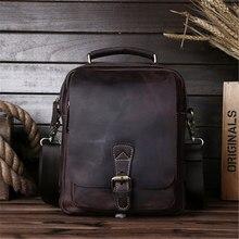 цена на Nesitu Vintage Brown Thick Durable Genuine Crazy Horse Leather Small Men Messenger Bags Male Shoulder Bag High Quality M5066