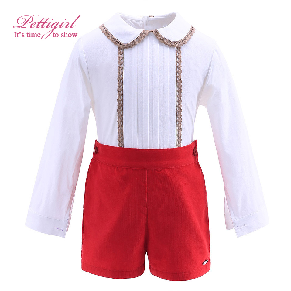 ФОТО Pettigirl New Autumn Red Boy Clothing Set With Lace Hem Collar Boutique Kids Clothing Christmas Outfit B-DMCS908-890