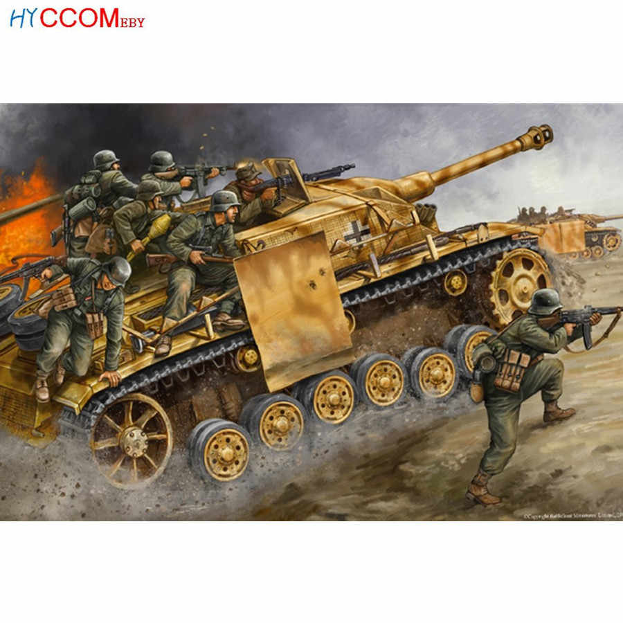 Full 5d diy diamond embroidery World War II Wehrmacht Guns Tank Military diamond painting Cross Stitch drill Rhinestone mosaic