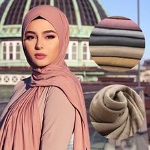 Многоцветный мягкий хлопковый мусульманский платок хиджаб Джерси-шарф femme musulman hijabs Исламские шали и обертывания головные шарфы