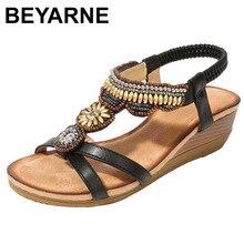 BEYARNEwomen buty kobieta Rhinestone buty czeski sandały zapatos de mujer klapki casualowe sandały płaskie buty630