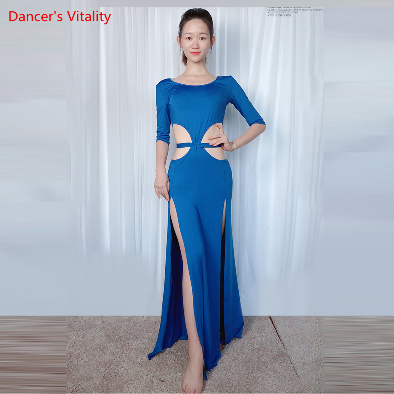 New Sexy Women's Belly Dancing Costume One-piece Modal Long Dress Blue Green M L Free Delivery
