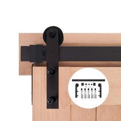 4.9FT/6FT/6.6FT Schwarz Carbon stahl schiebe interior scheune schiebetür hardware track
