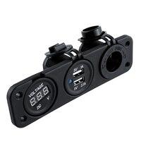 NEUE 12 V 24 V 2.1A 1A Dual Auto Zigarettenanzünder USB Adapter Ladegerät + Digital Voltmeter