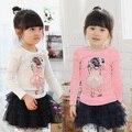 2015 primavera princesa meninas roupas de bebê criança longo - manga T - camisa tx-1155 camisa básica