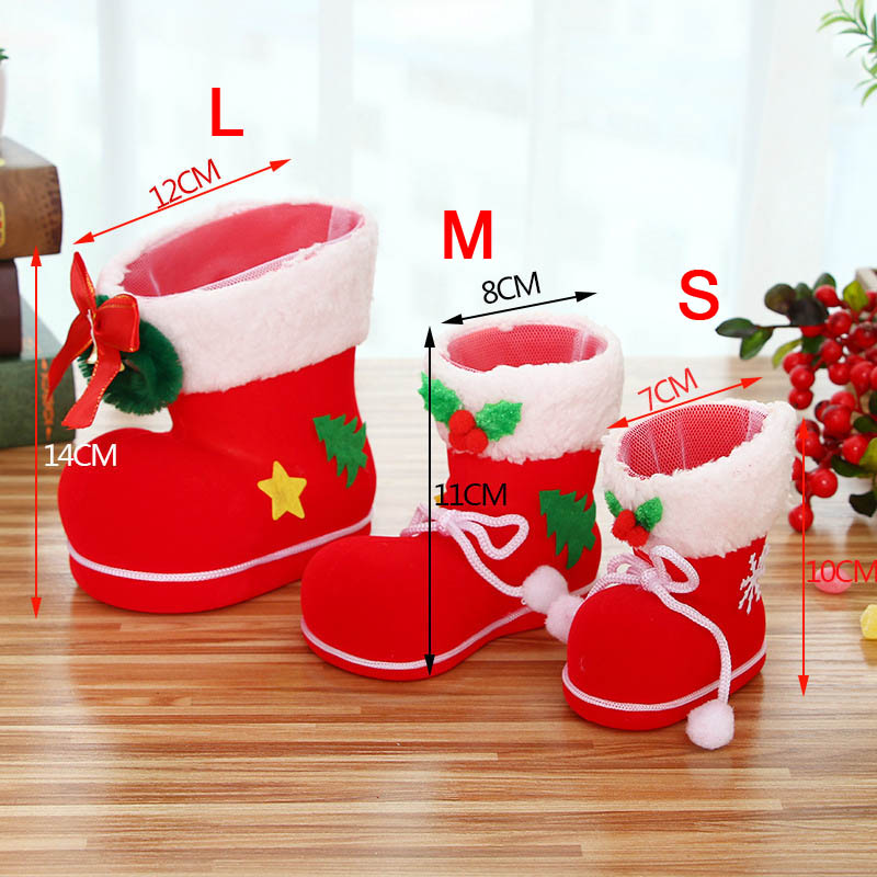 Merry Christmas Candy Gift Bags Santa Boot Shoes Hanging Xmas Tree Decoration XH8Z