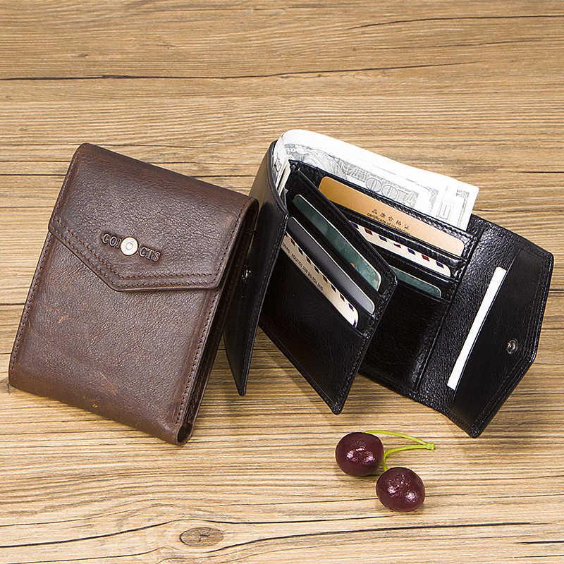 Carteiras masculinas de couro legítimo, carteiras masculinas compactas com três dobras, porta-cartões para moedas, presente para 100% homem