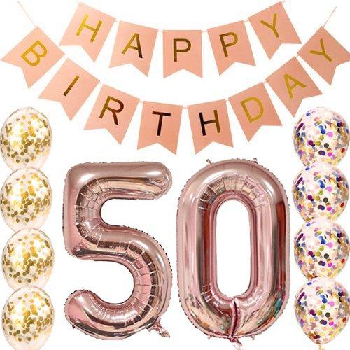 Gelukkige verjaardag roze Banner rose goud nummer ballonnen, nummer - Feestversiering en feestartikelen