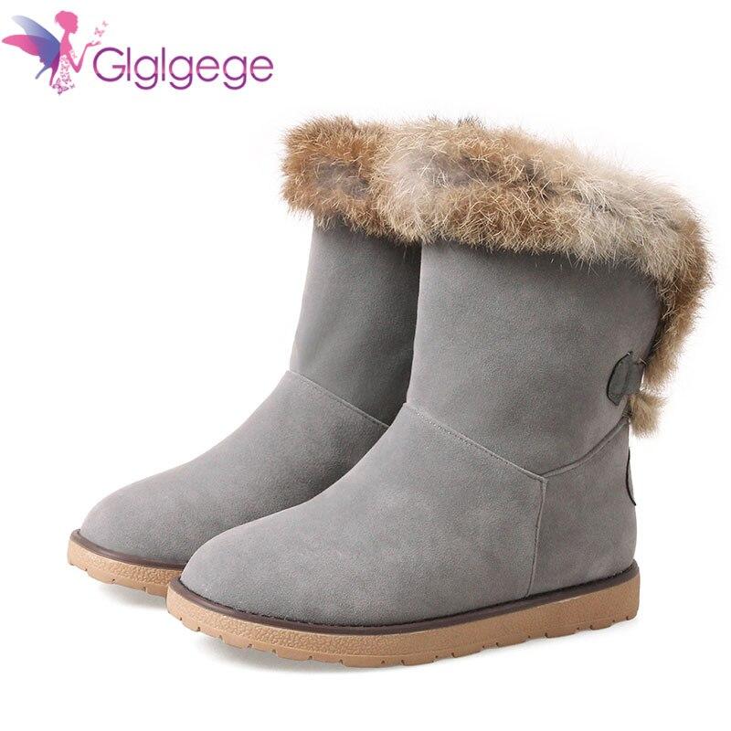 1e4f8163a Nieve Las Invierno Botas Conejo black La De Mujer En Piel 42 Zapatos  Plataforma Redonda Botines ...