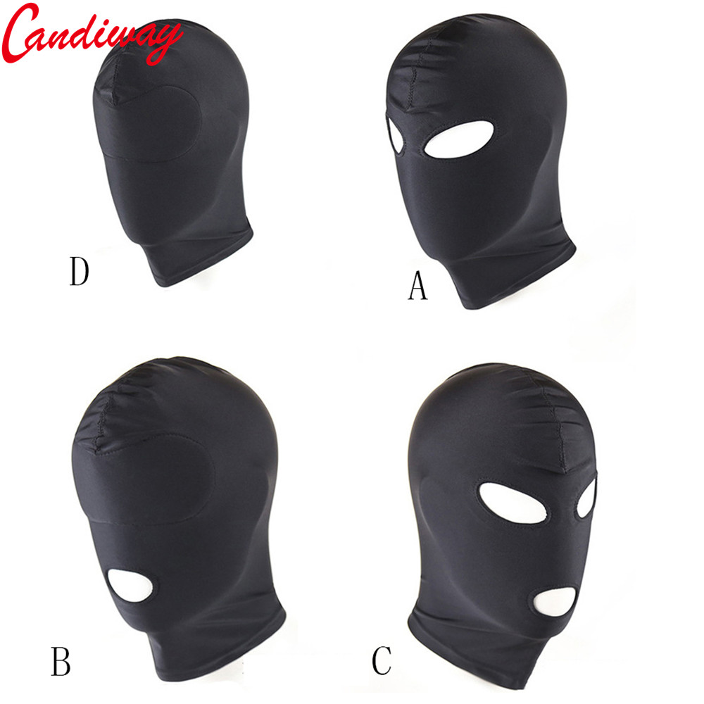 Sexy PU Leather Latex Hood Black Mask 4 tyles Breathable Headpiece Fetish BDSM Adult for party new arrival latex fetish hood sexy rubber girls ponytail hood back zip including hair hood only
