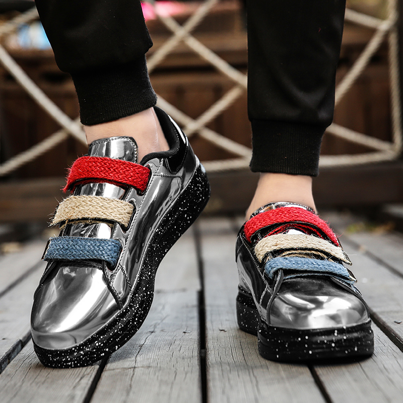 Respirant 44 Britannique Noir Cx5 Vintage Verni argent Martin Size36 Mode rouge Couple En Cuir Hommes Chaussures Simple Lumineux gYb76fy