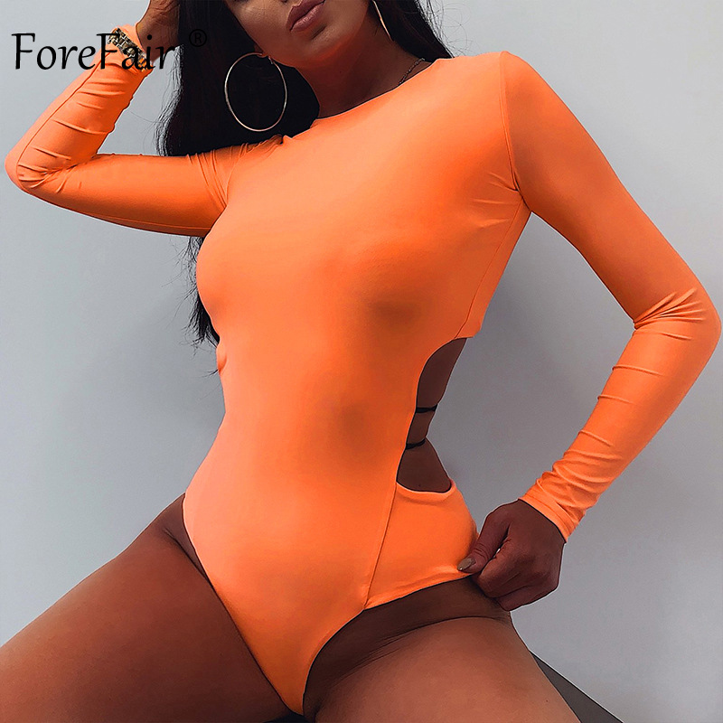 Forefair O Neck Long Sleeve Body Tops Women 2019 Fashion Slim Back Hollow Out Neon Green Orange Black Autumn Sexy Bodysuits