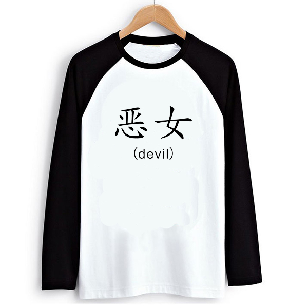 cute evil girl chinese letter print long sleeve t shirt black white raglan women loose tshirt