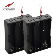 2x Wama 18650 3-Slot Battery Storage Box Charging Case Series Batteries with 8 Wire Leads 11.1V Length 150mm Holder Pin