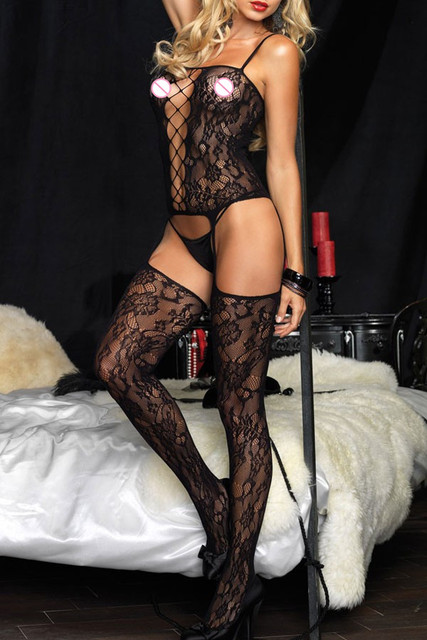 DL79560 New sexy bodystocking  Spaghetti Strap  Lace Suspender Patterns Body Stockings black super deal sheer thong bodysuit