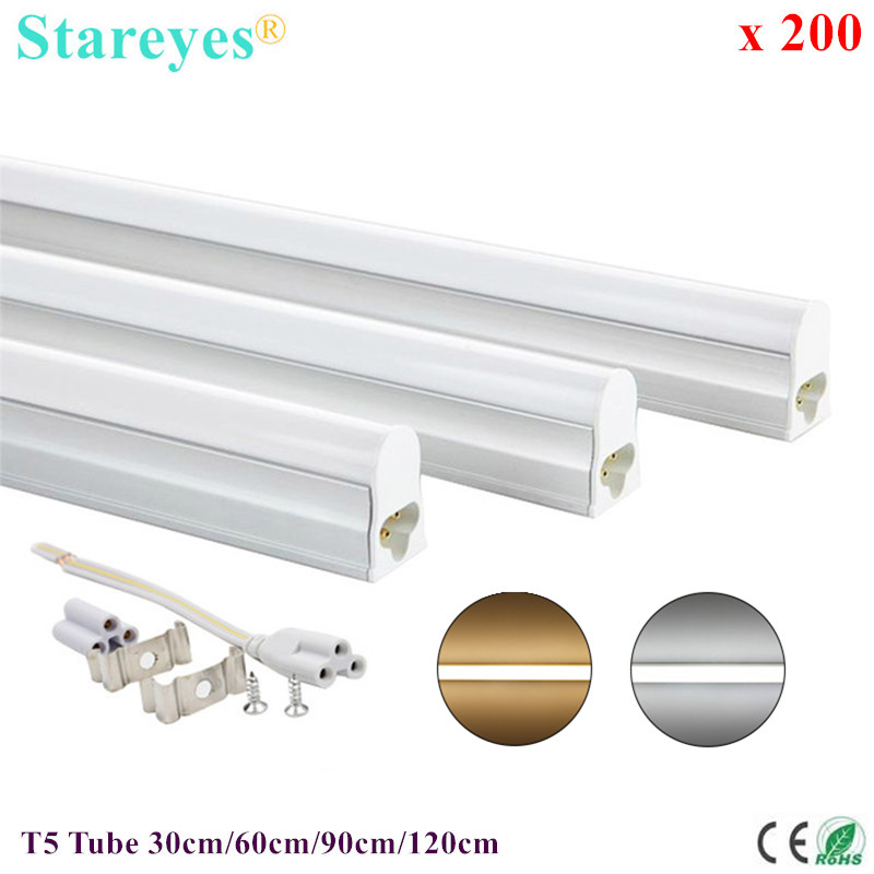 200 Pcs T5 LED Tube 5W 9W 14W 18W Fluorescent Integrated Bulb 30cm 60cm 90cm 120cm Wall Lamp Cabinet Kitchen Decoration Light