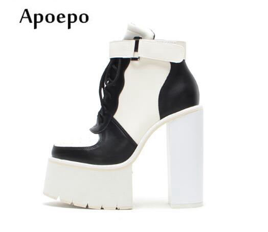 Apoepo Mixed Colors PU Leather High Heel Boots Round Toe Platform Thick Heels Woman Boots Lace-up Riding Boots Ankle Boots high quality full grain leather and pu mixed colors boots size 40 41 42 43 44 zipper design lace up decoration round toe boots