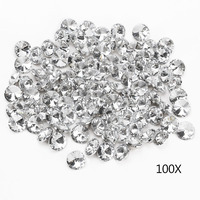 100pcs 25MM Clear Faceted Glass Crystal Diamante Rhinestone Silver Buttons E2shopping