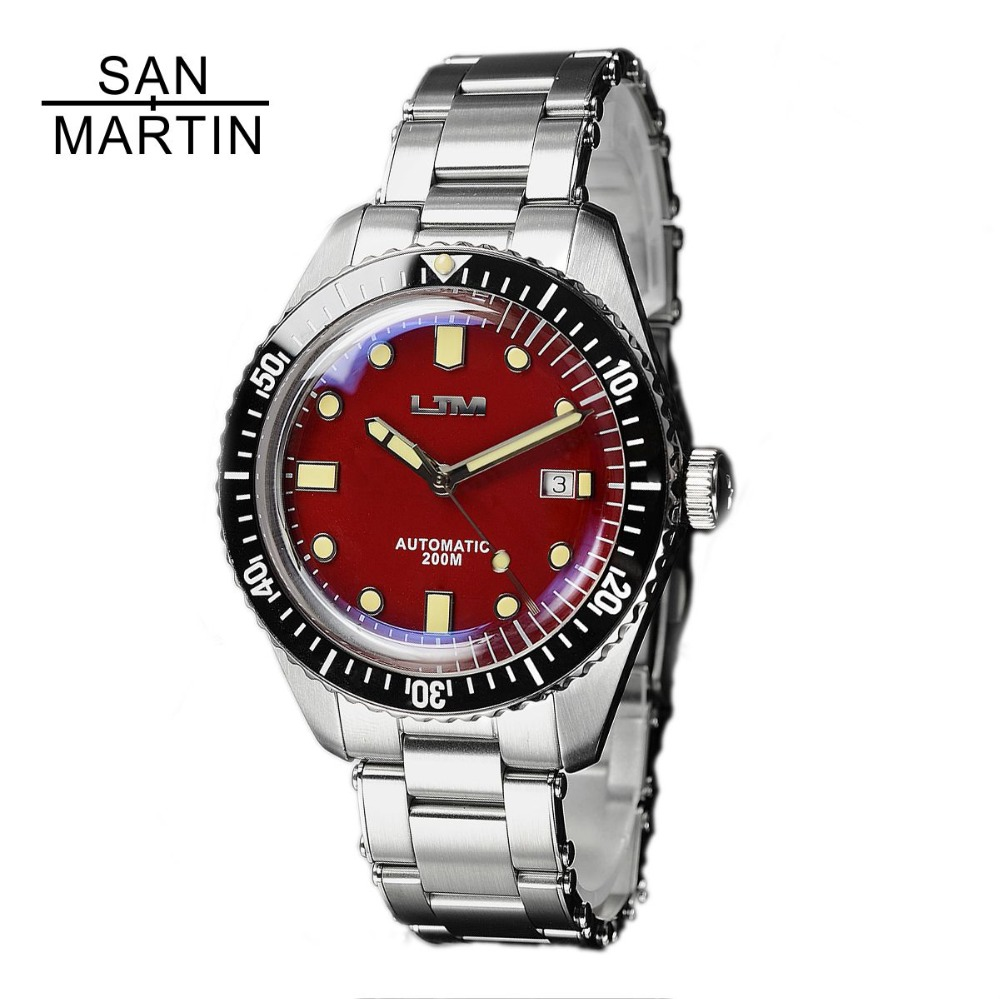 San Martin Sixty-Five Men Vintage Diving Watch Stainless Steel Automatic Watch 200 Water Resistant Relojes Hombre 2018 fashion