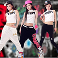 New Fashion Adult Women Trousers wear letter print ds costume female knitted loose Jazz  harem Hip hop dance pants