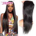 7A Malaio fechamento do laço do cabelo virgem cabelo humano em linha reta encerramento gratuito médio 3 prat Li & cabelo rainha fechamento direto produtos