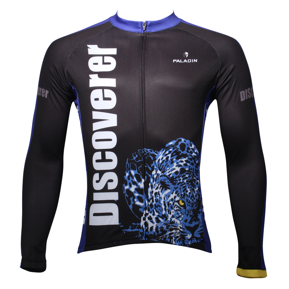 Discover The World On The Way Cheetah And Antelope Men Long Sleeve Cycling Jersey Breathable Bicycle Shirts Black Biking Clothes