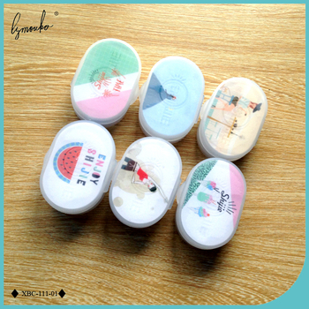 Lymouko 2pcs/Lot All Sorts of Design Patterns Portable Contact Lens Case with Mirror Mini Kit Holder Lenses Box for Women