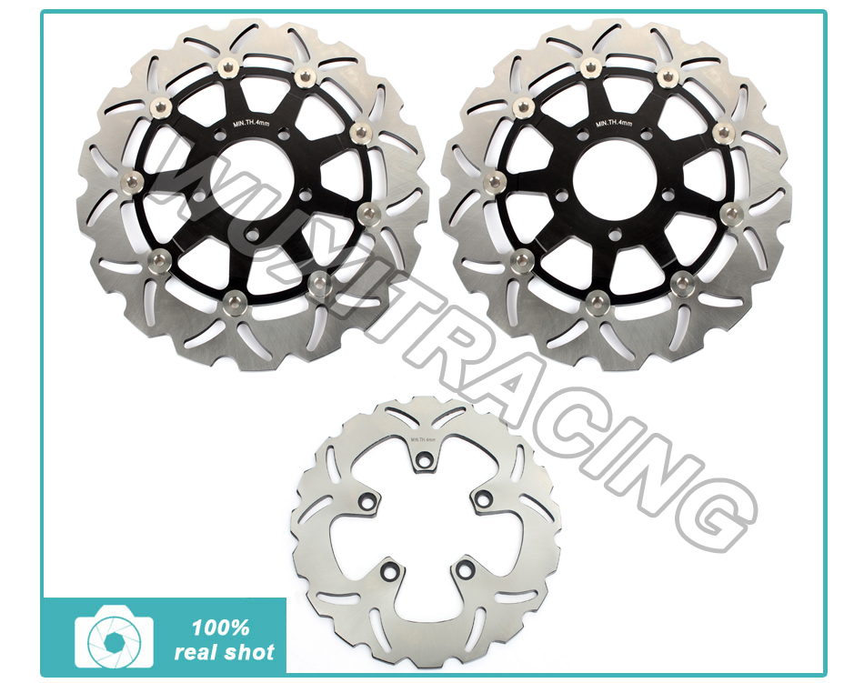 New Full Set Front Rear Brake Discs Rotors for SUZUKI GSF 650 Bandit S ABS 04 05 06 GSX 600 750 GSX600 GSX750 F Katana 2002-2006  motorcycle front and rear brake pads for suzuki gsf600 s y k naked bandit s k faired bandit f katana sv650 gsx750 f katana