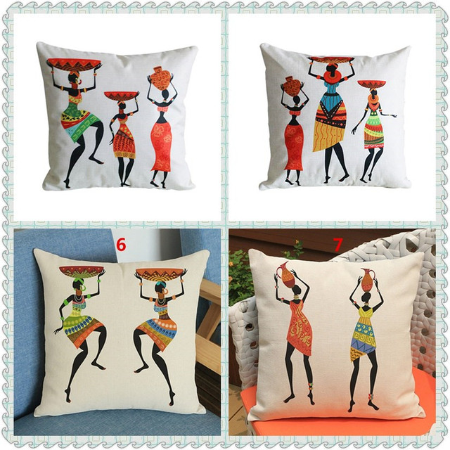 Maiyubo African Tribal Cushion Cover Decoration Pillow Africa Print Throws Covers Sofa Home