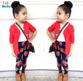 2015 Autumn girls fashion clothes set girl jacket + shirt + flower pants girls 3 piece clothing set kids clothes retail