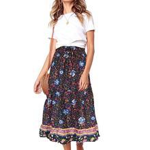 Fashion Summer Beach Women Bohemian Skirts Clothing Flower Print Elastic Waist A Line Beach Party Long Maxi Skirt For Lady недорого