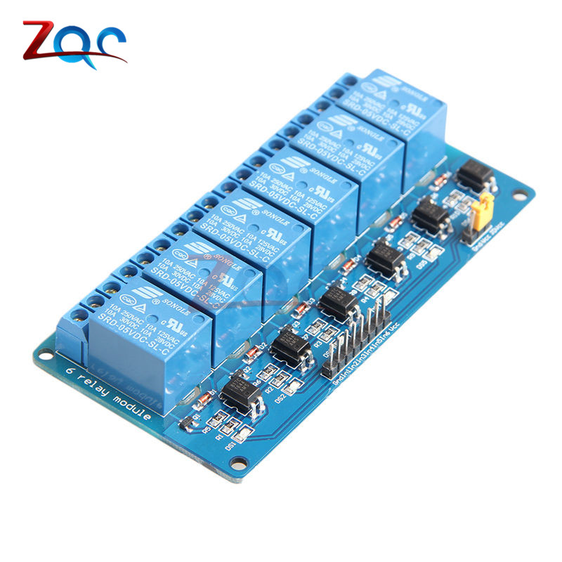 DC 5V 6 Channel Relay Module with light coupling Optocoupler Insulation for Arduino PIC ARM DSP AVR Raspberry Pi Expansion Board tai shen ts sdr 5v 2 channel relay expansion module for dsp avr mcu arm white