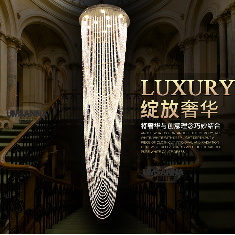 LED moderní křišťálové lustry Velké dlouhé kulaté svítící lustrové svítidla Hotel Home Vnitřní osvětlení lampy AC90V-260V