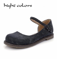 Sweet Lolita Round Toe Flat Bottomed Single Shoes Fashion Vintage Casual Doll Shoes Female Moccasins Flat Loafers&Sandals
