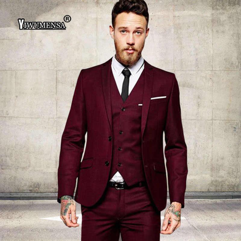 Yiwumensa 男性のファッションワイン赤ブルゴーニュ男性スーツ結婚式スリムフィットテーラーメイド新郎ウェディングタキシード 3 ピース男性ブレザー 2019