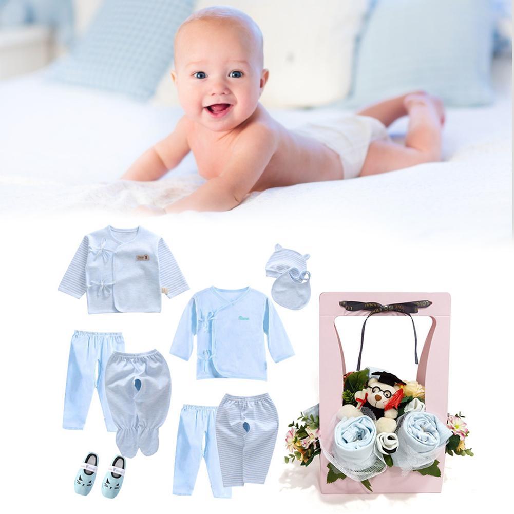 Baby Lente En Zomer Kleding Set Top Speeksel Handdoek Sokken Kindje Pak Voor 0-6 Maanden Gift Box Pakket Voor Pasgeboren Aanwezig