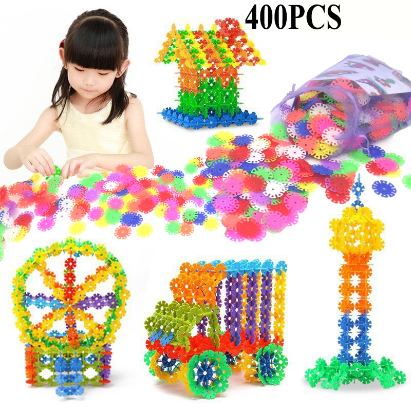 With Instructions 400 Pcs 3D Puzzle Jigsaw Plastic Snowflake Building Blocks Building Model Puzzle Educational Toys For Kids блендер philips погружной hr1627 00 белый красный hr1627 00