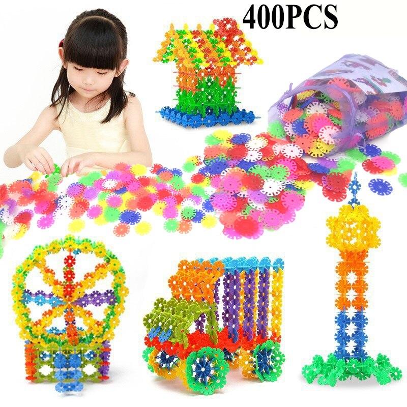 With Instructions 400 Pcs 3D Puzzle Jigsaw Plastic Snowflake Building Blocks Building Model Puzzle Educational font