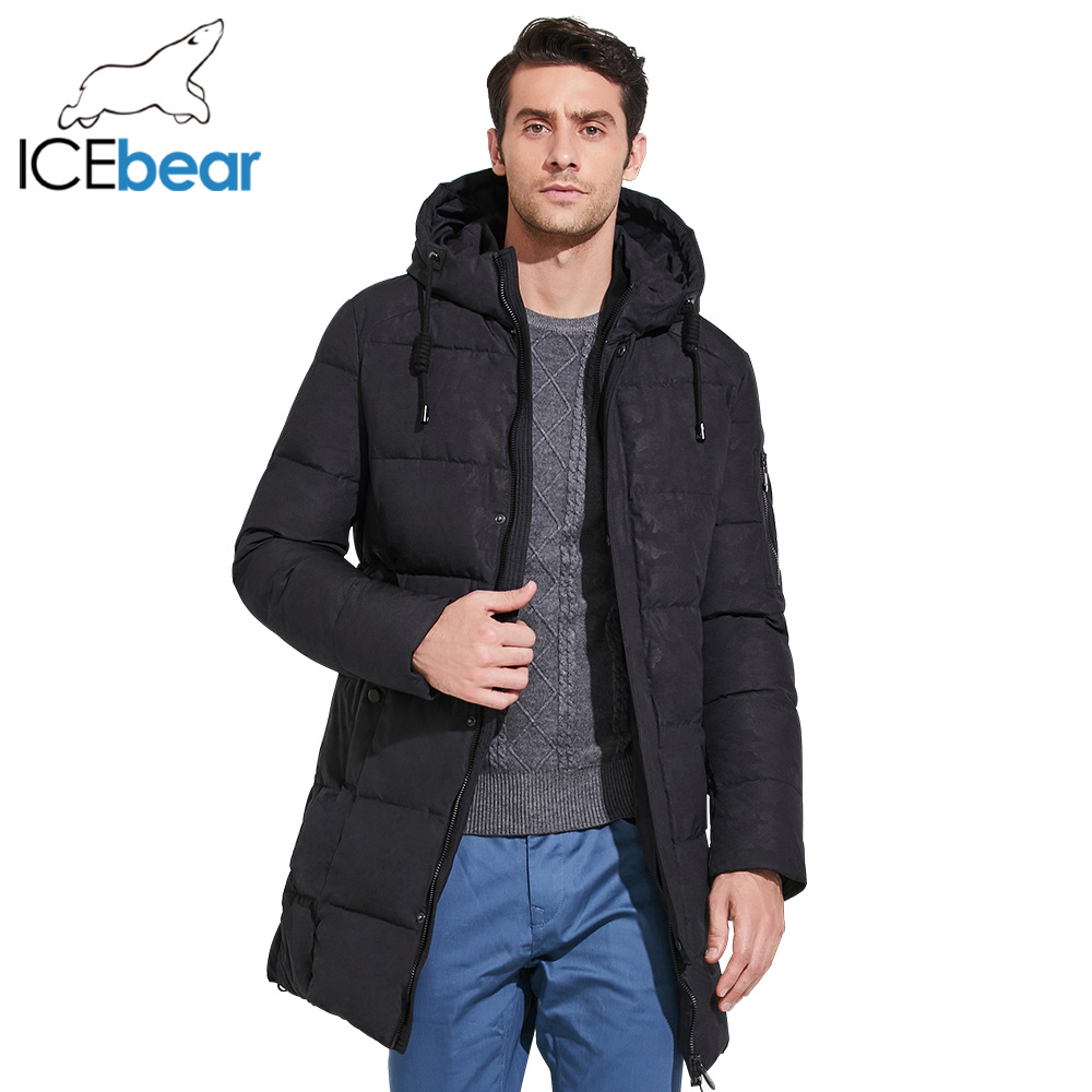 ICEbear 2017 New Winter Jacket Mens Printed Cotton Men Clothing Business Casual Men Parka Coats Thick Warm Hooded Coat 17MD933D solid knot hem tee