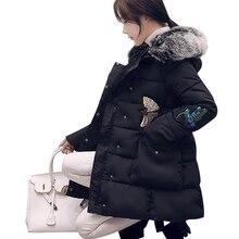 2016 новая мода зимние женские куртки длинные стройные толстые реального меховой воротник пальто высокого качества плюс размер верхняя одежда с капюшоном куртка
